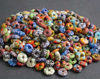 20 Chunky African Disc Beads, Refashioned Glass Ethnic Spacers,  Handmade in Ghana's Krobo, for Jewelry Jewellery and Crafts