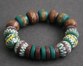 Stretchy Bracelet, Ghana Recycled Glass Beads,  Lovely Gift Idea, Teal/Brown/White