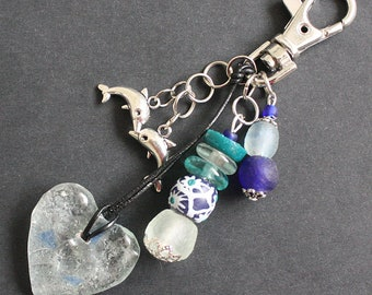 African Bag Charm or Key Ring, Recycled Glass Beads, Aqua/Green/Cobalt Blue/Clear with Dolphin Charms, Beautiful, Great Small Gift