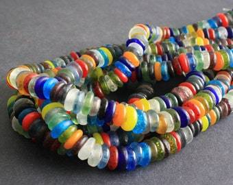 120 African Disc Beads, Ghana Krobo Recycled Glass Spacers, Translucent, 9-12 mm for Jewelry and Crafts, 1 Full Strand
