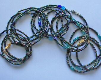 Waist Beads Bikini Jewellery Jewelry Shimmery Iris Blue Metallic 3mm Beads, Various Lengths and Designs