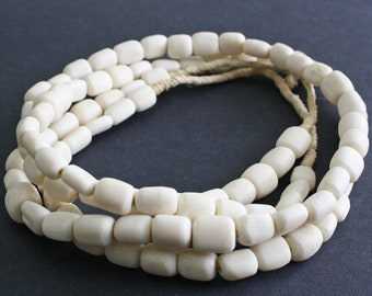 25 African Bone Beads from Kenya. Cream and Multifaceted, 10 to 12mm, for Jewelry and Crafts,
