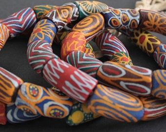 11 Giant African Tube Beads, Ghana Krobo Recycled Glass Ethnic Tubes, Handmade, Chunky 29-35 x 17 mm