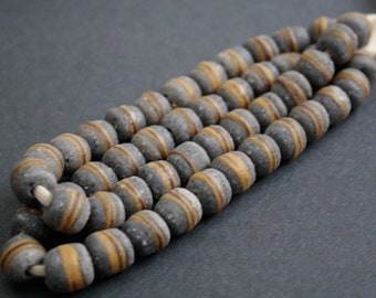 24 Speckled Grey African Beads, Krobo Recycled Glass, 12 mm Round, Handmade Ethnic Craft