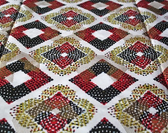 1 Yard African Fabric Woodin Brand Ghanaian Cotton Print, White, Red, Gold, for Clothing, Interiors, Head Wraps and More