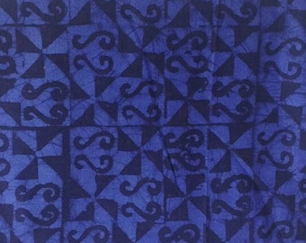 Deep Blue African Batik Fabric, Cotton, Ethnic Ashanti Ethnic Print, Preshrunk Hand-Printed, For Sewing, Crafts, Quilting,  by the Yard