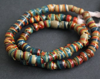 African Beads, Recycled Plastic, Handmade, Swirly Round/tubes, Blue, Red & Beige, 6-8 mm for Jewelry and Crafts, 32 inches Long
