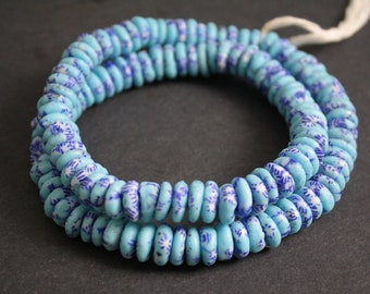 40 African Disc/Doughnut Beads, Krobo Ghana Refashioned Spacers, 10-12 mm, for Jewelry and crafts, Turquoise/Blue/White