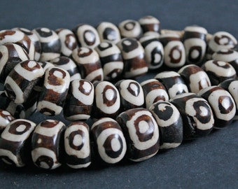 10 Large African Beads, Batiked Kenyan Bone Beads 20 -25 x 12 - 14 mm, Handmade