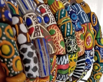 Mixed African Beads, Ghana Krobo Recycled Glass Ethnic Tubes, Handmade, Mixed Lot, 12-30 mm approx, for Jewelry and Crafts, 1 strand