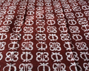 African Fabric by the Yard, Ghana Cotton Batik, Authentic Ethnic Adinkra*  Symbols, for Sewing, Head Wraps, & More, Reddish Brown/White
