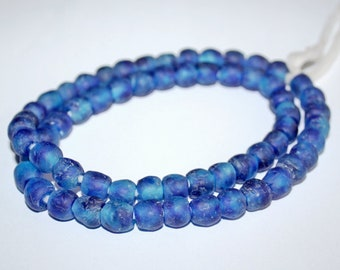 28 African Beads, Ghana Krobo Recycled Glass, 9mm Round, Handmade, Mottled Blue/Turquoise,  for Jewelry and Crafts