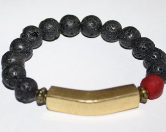 Black lava Beaded Bracelet with Solid African Brass Bar, Stretchy, 6.5 inches, Gift Idea