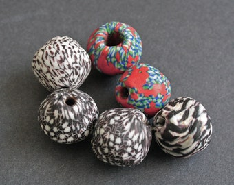 6 African Beads,  Refashioned Glass Bi-cones, from Ghana's  Krobo, Extra Large, 25-27 mm, Mixed Lot