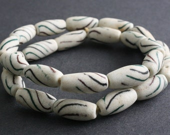 8 African Beads, Recycled Glass Barrels/Bi-cones, Handmade ethnic Craft from Ghana', 24-28mm, Off-white