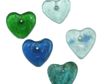 African Recycled Glass Pendants Heart-Shaped Translucent, Handmade, for Beading and Crafts 5 Colour Options Handmade, Pack of 2
