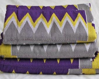 Striking Kente Fabric, Authentic Handwoven Traditional Ghana Festive Cloth, 3-Piece Bundle, Purple/Greey/Lemon/White, Stunning!