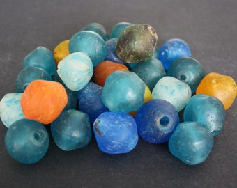 Large African Beads, Ghana Krobo Recycled Glass Bicones, Many Colour Choices, for Jewelry and Crafts