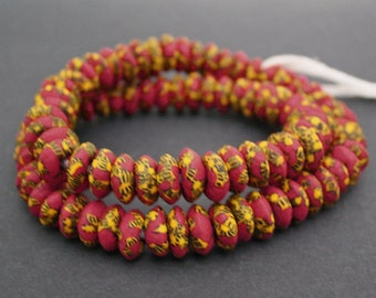 20 Red African Disc Beads, Handmade Refashioned Glass, Krobo, Ghana 13-14 mm Spacers, for Jewelry and Crafts