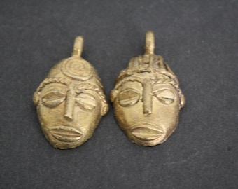 2 African Brass Pendants, Ghana Ashanti Lost Wax, Handmade 37 mm Tribal Mask Design
