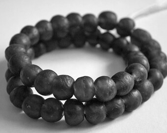 15 Grey African Beads, Recycled Glass Ghana's Ethnic Krobo, 13-14 mm, Charcoal/Grey for Jewelry and Crafts