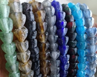 African Beads, Recycled Glass Ghana Krobo 'Tulips' 7-9 mm, Handmade Ethnic Craft for Beading/Crafts ,Pack of 32/Full Strand 8 Colour Options