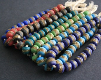 African Beads, Recycled Glass from Ghana's Krobo, Round 13-15 mm, One Strand, With Speckled Strip,