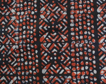 African Batik Fabric, Ghanaian Cotton Print, Authentic Ethnic Cloth, Burnt Orange, Just over 1 Yard, Last Piece
