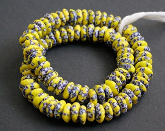 20 African Disc Beads, Krobo Ghana Recycled Glass, Hand-made Chunky Spacers, 13-15 mm, for Jewelry and Crafts, Chartreuse, White and Blue