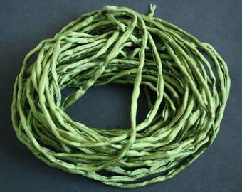 Habotai Silk Cord, 3 mm Diameter,  Naturally Soft,  Olive,  'Second Skin' For Jewelry, Jewellery, Pre-Cut