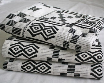 Kente Fabric from Ghana, Authentic Handwoven Traditional Cotton Festive Cloth, Black and White, One Piece, Choose from 3 Sizes