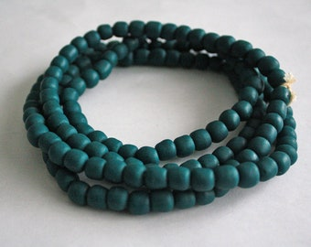 African Beads Handmade Ghana Recycled Glass 8-9mm Round Teal, for Beading and Crafts