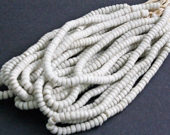 African Disc Beads, Ghana Krobo Recycled Glass, 5mm Spacers, White, One Strand, 90+ Beads Approx 10 inches Long, White