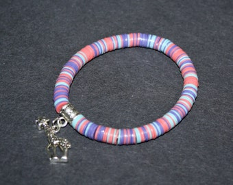 African Jewelry Bracelet StretchyAfrican Vinyl Vulcanite Heishi Disc Beads with Giraffe Charm, Pastels, Lovely Gift Idea