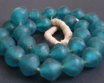 11 African Beads Ghana Krobo Recycled Glass, Large Petrol Blue Bicones, 24-25mm, Handmade, for Jewelry and Crafts