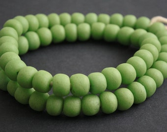 20 African Beads, Recycled Glass, Ghana Krobo, Round, 12-13 mm, Handmade for Jewelry and Crafts, Lime Green
