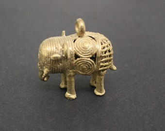 47mm African Brass Pendant, Elephant, Gold, Handmade Ethnic Lost Wax Craft,