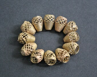 """African Brass Metal Beads, Handmade """"Barrel Cones"""", 22-24 mm, Diagonal Mesh Design, for Jewelry and Crafts,"""