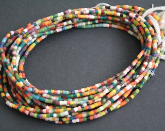 African Waist Beads/seed beads from Ghana's Krobo, 28 inches Long, Multi-coloured Glass Beads, with Cotton Tie Cord