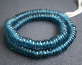 40 African Disc Beads, Ghana Krobo Recycled Glass Spacers, for Jewellery and Crafts, Petrol Blue, 10-12mm