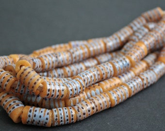 20 African Beads, Krobo Ghana Recycled Glass, Hand-made Tubes, 10-12 mm, One Strand,  Apricot/Soft Blue/Brown