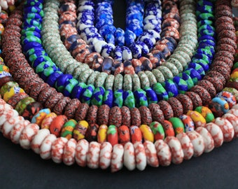 20 African Disc/ Donut Beads, Handmade Refashioned Glass, Krobo, Ghana 13-14 mm Spacers, for Jewelry and Crafts