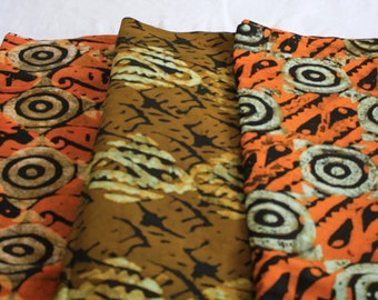 African Batik Fabric by the Yard, Ethnic Ghana Cotton, Pre-shrunk Hand-dyed, for Sewing, Quilting, Head Wraps and More