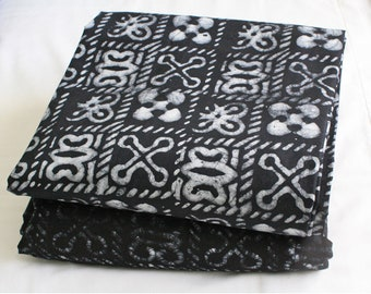 African Fabric Adinkra* Batik, Ghana Cotton Ethnic Print, Hand-printed, for Clothing, Interiors and Crafts, Black/Charcoal