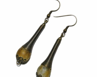 Golden Brown Drop Earrings with African Recycled Glass Beads, Small Gift Idea