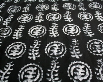 African Batik Fabric Ghana Cotton Adinkra Print Preshrunk Hand-dyed Ethnic Cloth, For Sewing, Clothing, Quilting, Interiors and More
