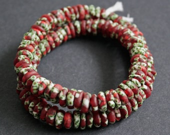 120 African Disc Beads, Ghana Krobo Refashioned Glass Spacers, 10-11 mm Ethnic Beads, Red/Green/White for jewelry and Crafts