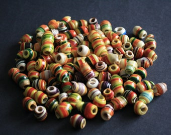 African Beads, Handmade Recycled Plastic, Approx 12-14 mm, Yellow/Multicoloured Pack of 54/30, for beading and crafts