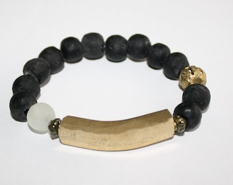 African Beaded Krobo Bracelet, Recycled Glass Beads & Solid African Brass Bar, Stretchy, 6.5 inches, Gift Idea