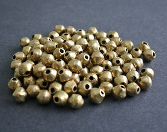 10 African Brass Beads, Ghana Ethnic Lost Wax Brass, 11-12mm Bicones, Handmade, for Jewelry and Crafts
